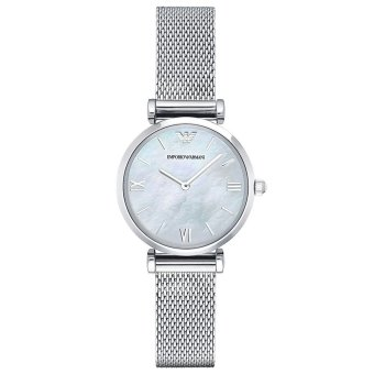 Harga Emporio Armani Retro Silver Steel Mesh Bracelet Dress Watch AR1955