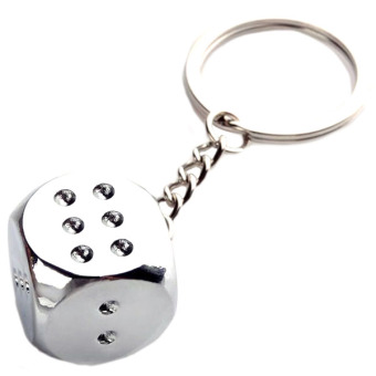 Harga Creative Dice for mahjong Key Chain Ring Keychain Keyring Fob Gift Silver - intl