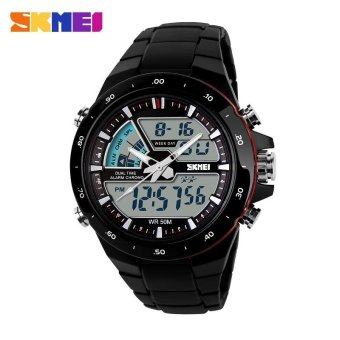 Skmei man's Outdoor sport Quartz Silicone Army watch 50CM Waterproof Wristwatches 1016 - Black Red - intl