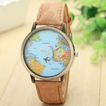 Harga New Global Travel By Plane Map Women Dress Watch Denim Fabric Band Coffee - intl