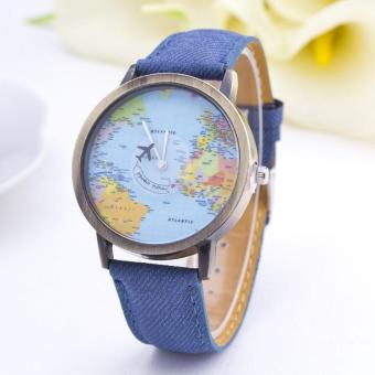 Harga Women Dress Global Travel By Plane Map Denim Fabric Band Watch(Blue) - intl