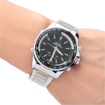 WEIDE WH903 Stainless Steel Analog with Digital Quartz LED Wrist Watch for Men (Silver) - 3
