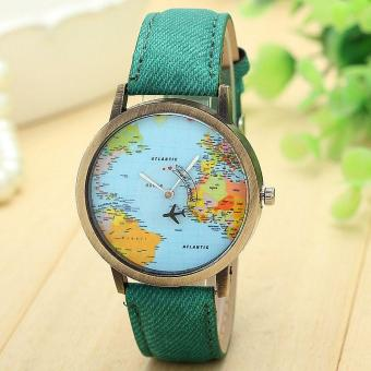 Harga New Global Travel By Plane Map Women Dress Watch Denim Fabric Band Green - intl