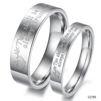 Harga Couple Lover Rings Titanium Steel Letters Pattern Ring(Silver) - intl