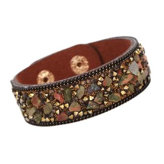 Harga Women Slake Stone Leather Bracelets(Deep Brown)