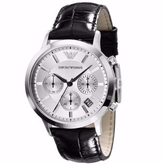 Harga Emporio Armani Men's Chronograph Black Leather Strap Watch AR2432