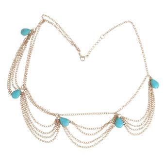 leegoal Women Bohemia Turquoise Headband Head Chain Jewelry Multi-layered Wavy Metal Headpiece - intl ...
