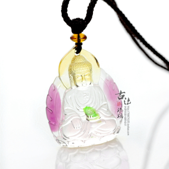 Harga Ancient firing glass pendant jewelry necklace a a tathagata buddha pendant for security and peace