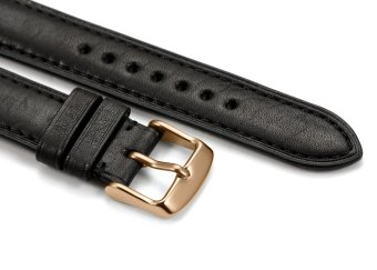 iStrap 18mm Genuine Calf Leather Watch Band Strap Rose Gold Spring Bar Buckle Replacement Clasp Super Soft Black 18 - 4