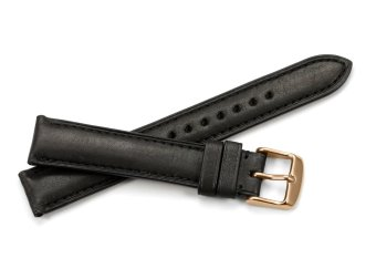 iStrap 18mm Genuine Calf Leather Watch Band Strap Rose Gold Spring Bar Buckle Replacement Clasp Super Soft Black 18 - 3