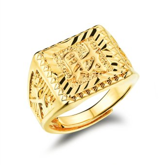 Harga Alloy Chinese Word Cai Male Ring (Gold) (EXPORT)