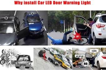 2pcs/set Car LED Door Opened Signal Warning Strobe Light Wireless Flash Decorative Indicator Anti-Collision Lamp Red - intl - 2