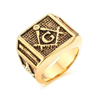 Harga 18K Gold Plated Stainless Steel Retro Fashion Mens Jewelry Masonic Rings - intl