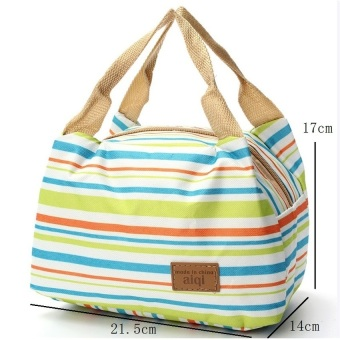 Harga Women Kids Canvas Stripe Lunch Bags Portable Insulated Bolsa Bag Green