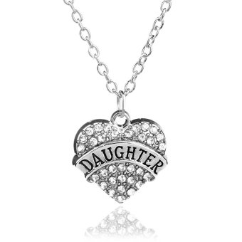Harga Family Gifts Daughter Crystal Love Heart Pendant Rhinestone Necklace Chain Jewelry Charm