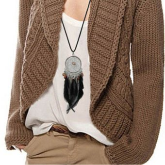 1 Pcs Dream Catcher Hollow Necklace Pendant Feather Jewelry Woman Circle Chain - 3