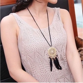1 Pcs Dream Catcher Hollow Necklace Pendant Feather Jewelry Woman Circle Chain - 4