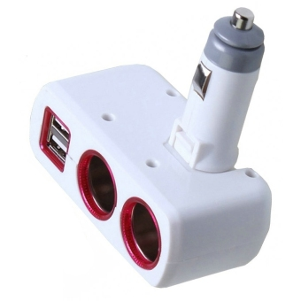 Harga SD-1918 Dual Cigarette Lighter Socket Power Adapter with Dual USB Output (White)