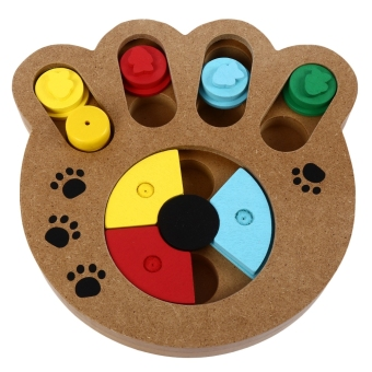 Harga Wooden Paw Shape Pet Treat Food Hiding Puzzle IQ Training Interactive Educational Toys for Dogs Cats - intl