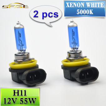 Harga 2 PCS H11 Halogen Lamp 12V 55W Car Fog Light Bulb 5000K Blue Glass (Super White)