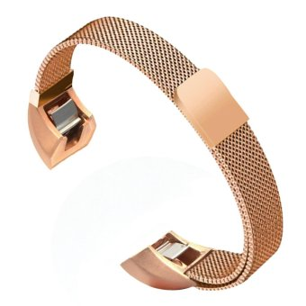 Harga Fashion Portable Replacement Slim Watchband Stainless Steel Strong Magnetism Clasp Smart Bracelet Strap Accessory for Fitbit Alta Model Watch Band Rose-gold - intl