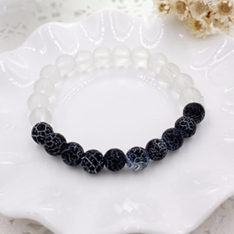 Harga Fancyqube New Style Originality White/Blue Weathering Agate Natural Stone Beads Bracelet With Leopard Lava Stone For Men Women pulseras Black - intl