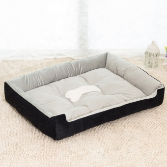 Harga Removable Puppy Cat Dog Bed Cushion Blanket Kennel Pet House L(Black)