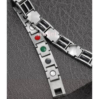 Health Energy Magnetic Black Plated Stainless Steel Bracelet For Men - Intl - 4