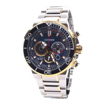 Harga Citizen Watch Eco-Drive Chronograph Multicolored Stainless-Steel Case Two-Tone-Stainless-Steel Bracelet Mens Japan NWT + Warranty CA4254-53L
