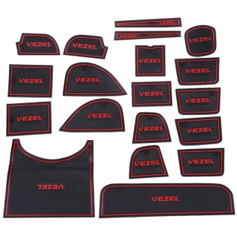 Harga 19pcs Auto Car Accessories Interior Door Rubber Non-slip Cup Mat Holder Gate Slot Pad for Honda Vezel - Intl