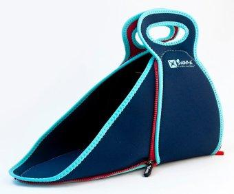Solvetta Insulated Regular Flatbox Lunch Bag (DarkBlue/LightBlue/Red) - 2