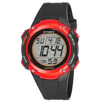 New Brand SYNOKE Kids LED Digital-watch Outdoor Sports Watches Fashion Waterproof Children Wristwatches (red)