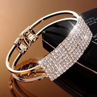 Harga CADIS 24K Golden Beautiful Enchase Diamond Lady Bracelet - intl