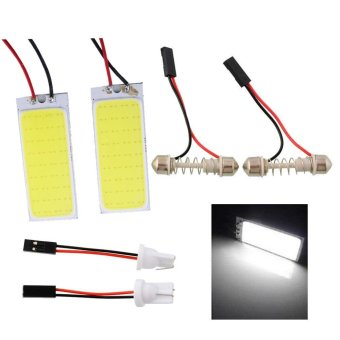 Harga 2x HID Bright 36 COB LED Panel Light For Car Auto Interior Dome White Lamp - intl
