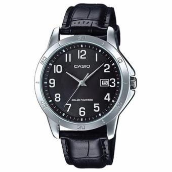 Harga Casio Men's Standard Solar-Powered Black Leather Strap Watch MTPVS02L-1B