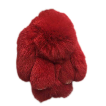 Harga Hequ Fashion Play Rabbit Key Chain Fluffy Fur Pom Keychain Rex Rabbit Bag Car Hanging Pendant Jewelry 11 Colors Red - intl