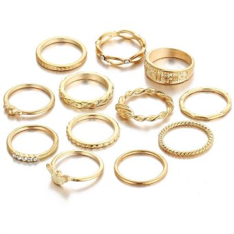 Harga Retro Diamond Ring Set 12pcs Gold Craved Finger Rings - intl