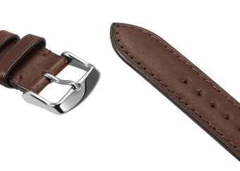 iStrap 22mm Genuine Calf Leather Watch Band Straps Steel Spring Bar Buckle Replacement Clasp Super Soft Dark Brown 22 - 4