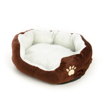 Harga New Pet Dog Cat Fleece Warm Bed Kennel Plush Mat Cushion Pad Medium Washable - intl