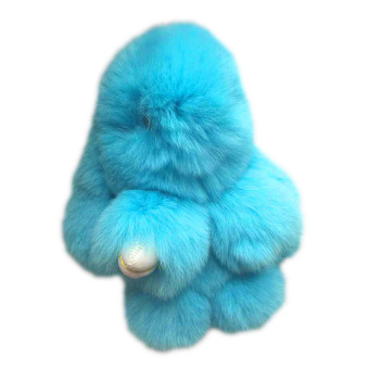 Harga Hequ Fashion Play Rabbit Key Chain Fluffy Fur Pom Keychain Rex Rabbit Bag Car Hanging Pendant Jewelry 11 Colors Blue - intl