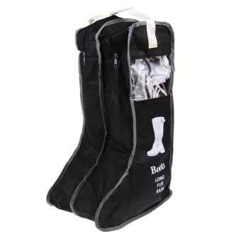 Harga Long Boot Shoes Storage Bag Protector Organizer Dustproof Container(Black)
