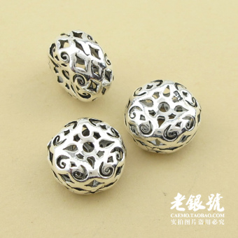 Harga 12mm/A52 Thai silver hollow beaded flat beads