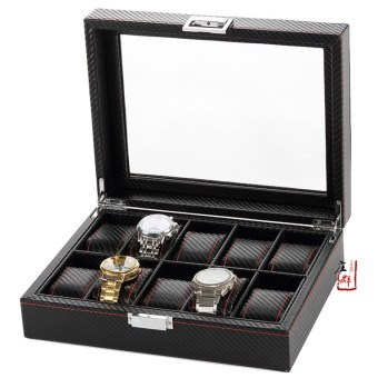 Harga Ten of the new carbon fiber watch display box jewelry display props storage box collection box counter display box
