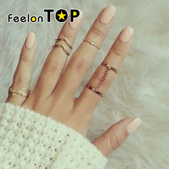 Harga Feelontop (6 pcs One Set ) Fashion Gold Color Midi Fingers Rings Set - intl