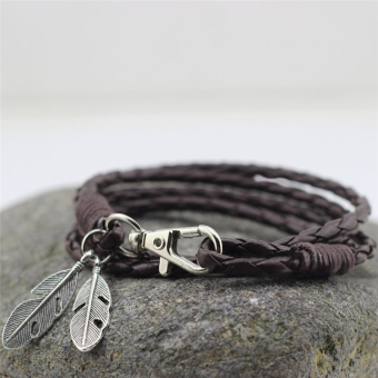 Harga Bangles Men Jewelry Accessories PU Leather Feather Charm Bracelets Brown