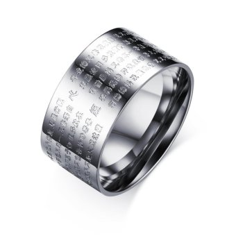 Harga Men's Personality Transfer Ring Mens Religious Ornaments Prajna Sutra Scripture Ring Size:6-10