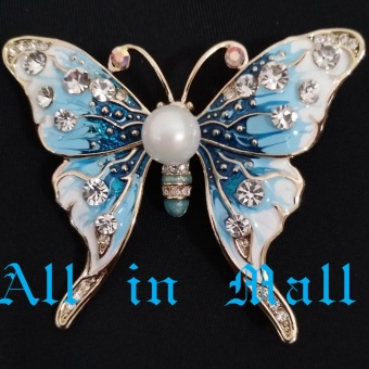 Harga Diamond Butterfly Brooch with Pearl - intl