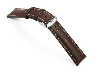 iStrap 22mm Genuine CalfSkin Leather Watch Band Strap Steel Spring Bar Buckle Replacement Clasp Super Soft Dark Brown 22 - 2