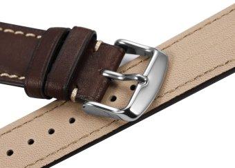 iStrap 22mm Genuine CalfSkin Leather Watch Band Strap Steel Spring Bar Buckle Replacement Clasp Super Soft Dark Brown 22 - 3