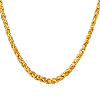 Harga U7 Fashion Chain Necklace For Men/Women 18K Real Gold Plated Gold Jewelry Accessories (Gold)(Export)